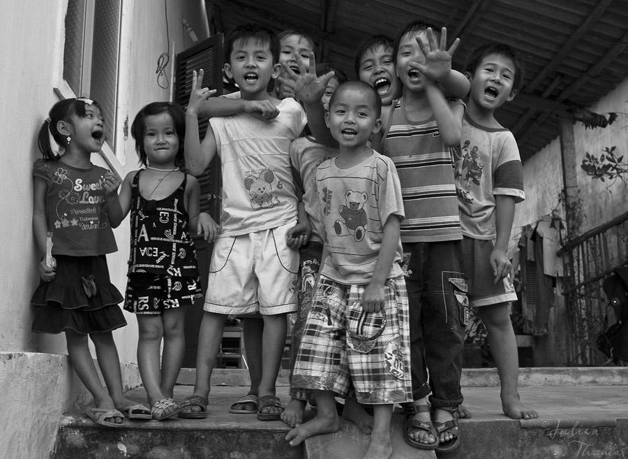 le sourire des enfants asiatiques