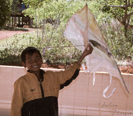 cerf-volant enfants d'Asie