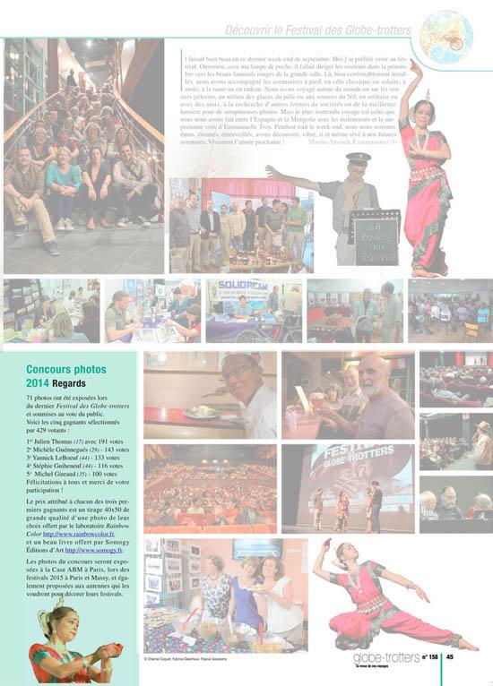 Parution dans le magazine Aventure du Bout du Monde après l'obtention du premier prix du concours photo