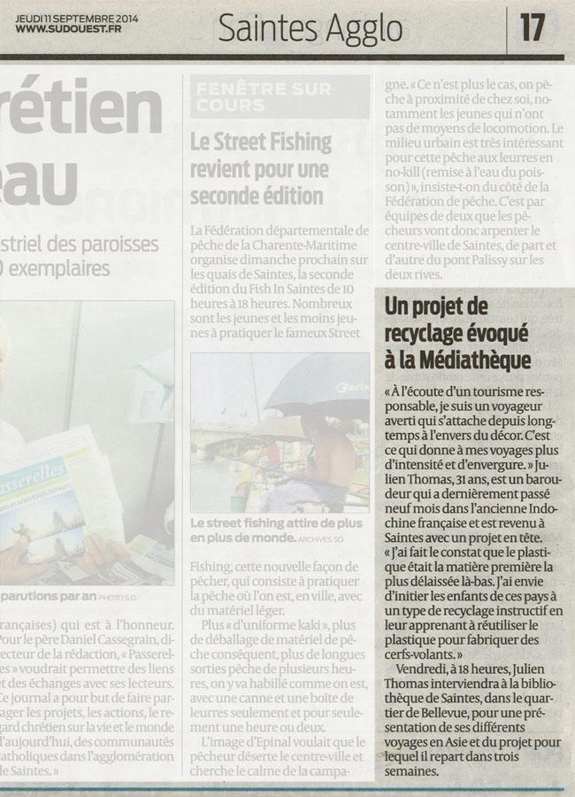 Article de presse SUD-OUEST – Intervention à la Médiathèque de Saintes