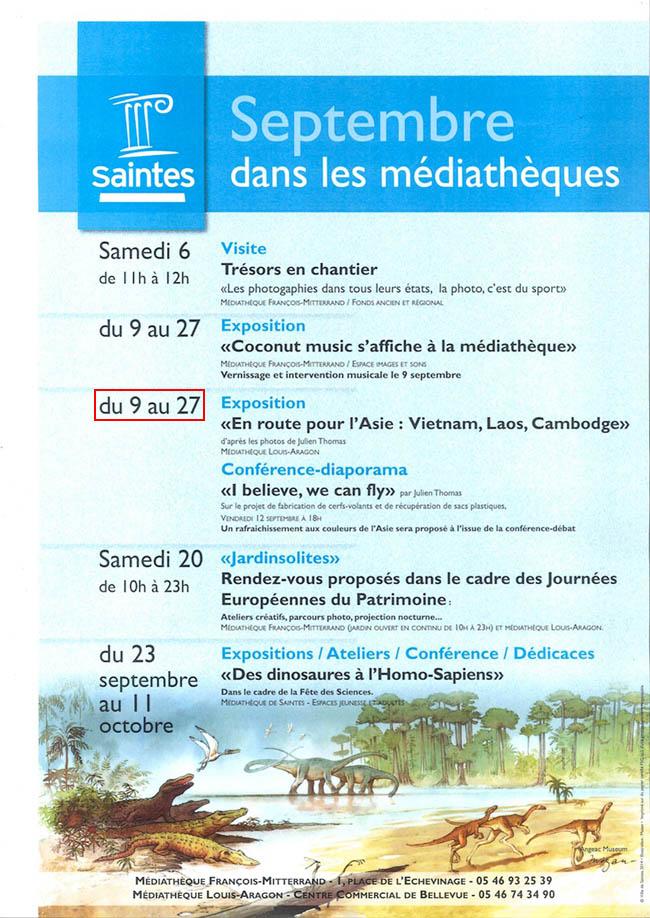 Au cours du mois de septembre 2014, Julien Thomas sera présent à la bibliothèque - médiathèque Louis-Aragon de Saintes pour une présentation de son projet I Believe we can fly ainsi qu'une exposition photo